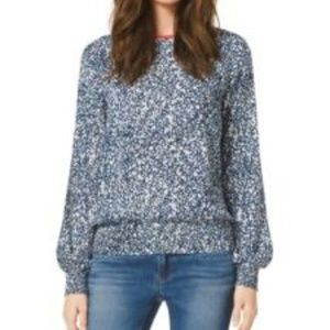 Michael Kors Blue and White Leaf Print Blouse | S